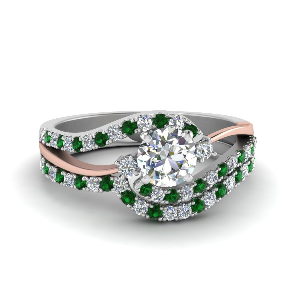 3 Stone Swirl Emerald Wedding Set