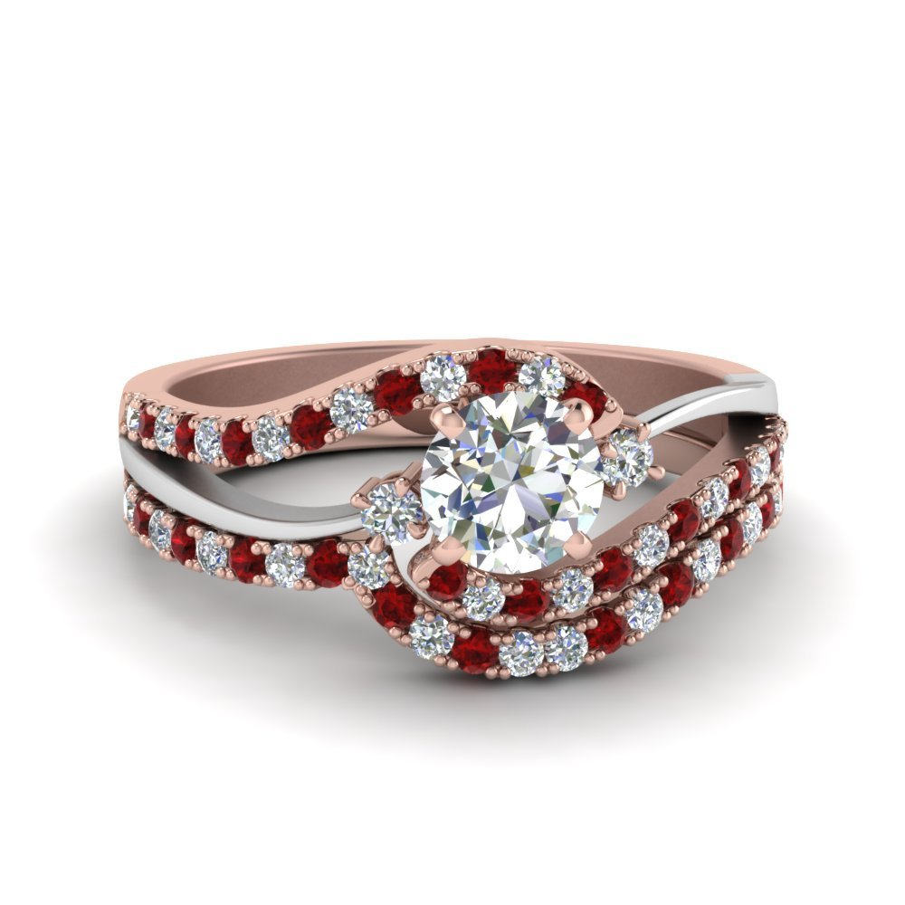 Two Tone 3 Stone Ruby Wedding Set