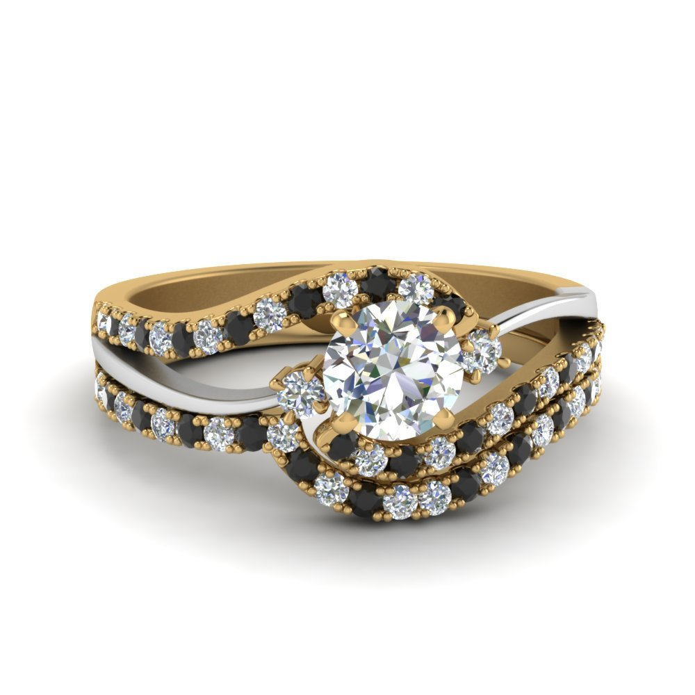 Black Diamond Yellow Gold Wedding Set