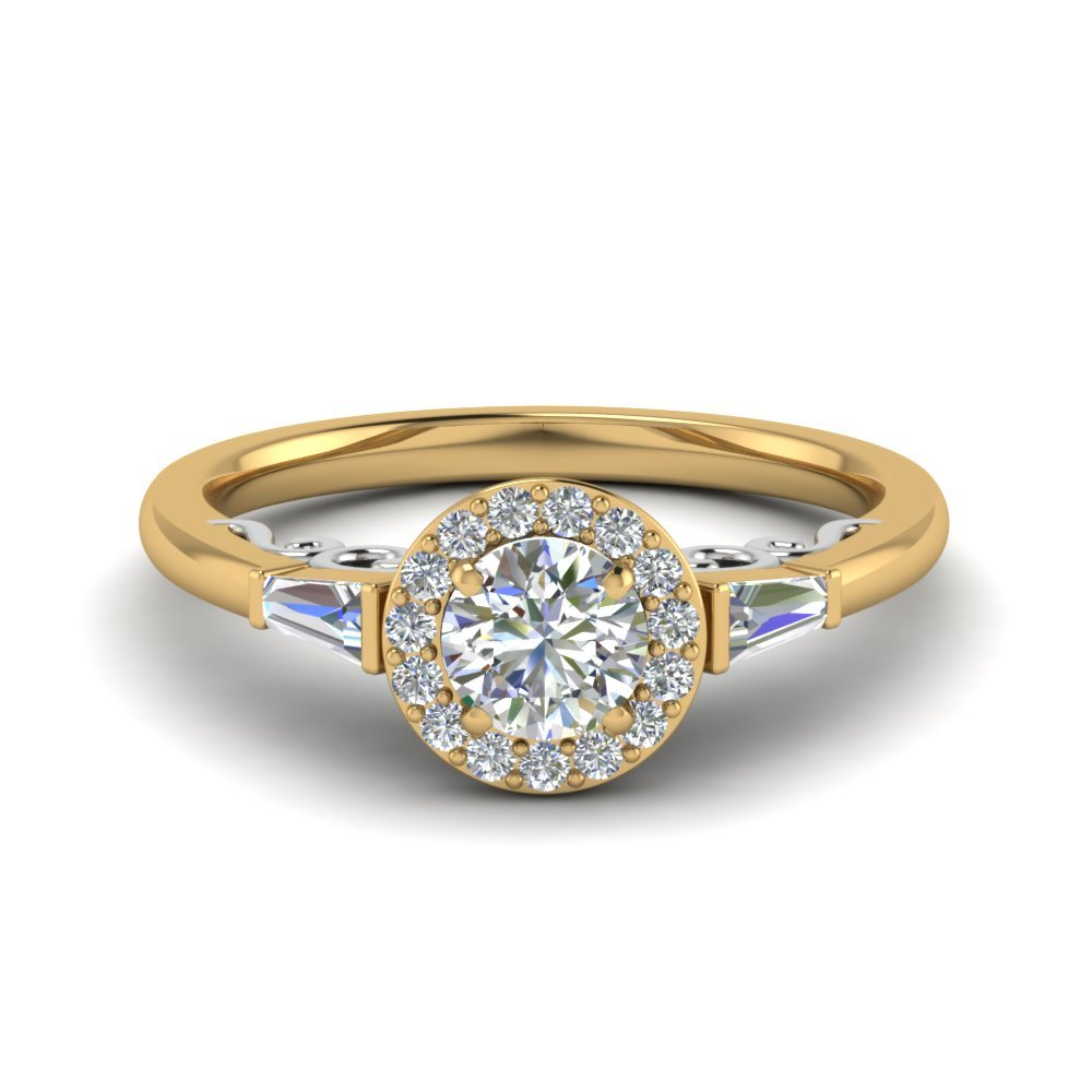 2 Tone Baguette With Halo Diamond Ring