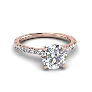 Round Cut U Prong Diamond Engagement Ring In 14K Rose Gold