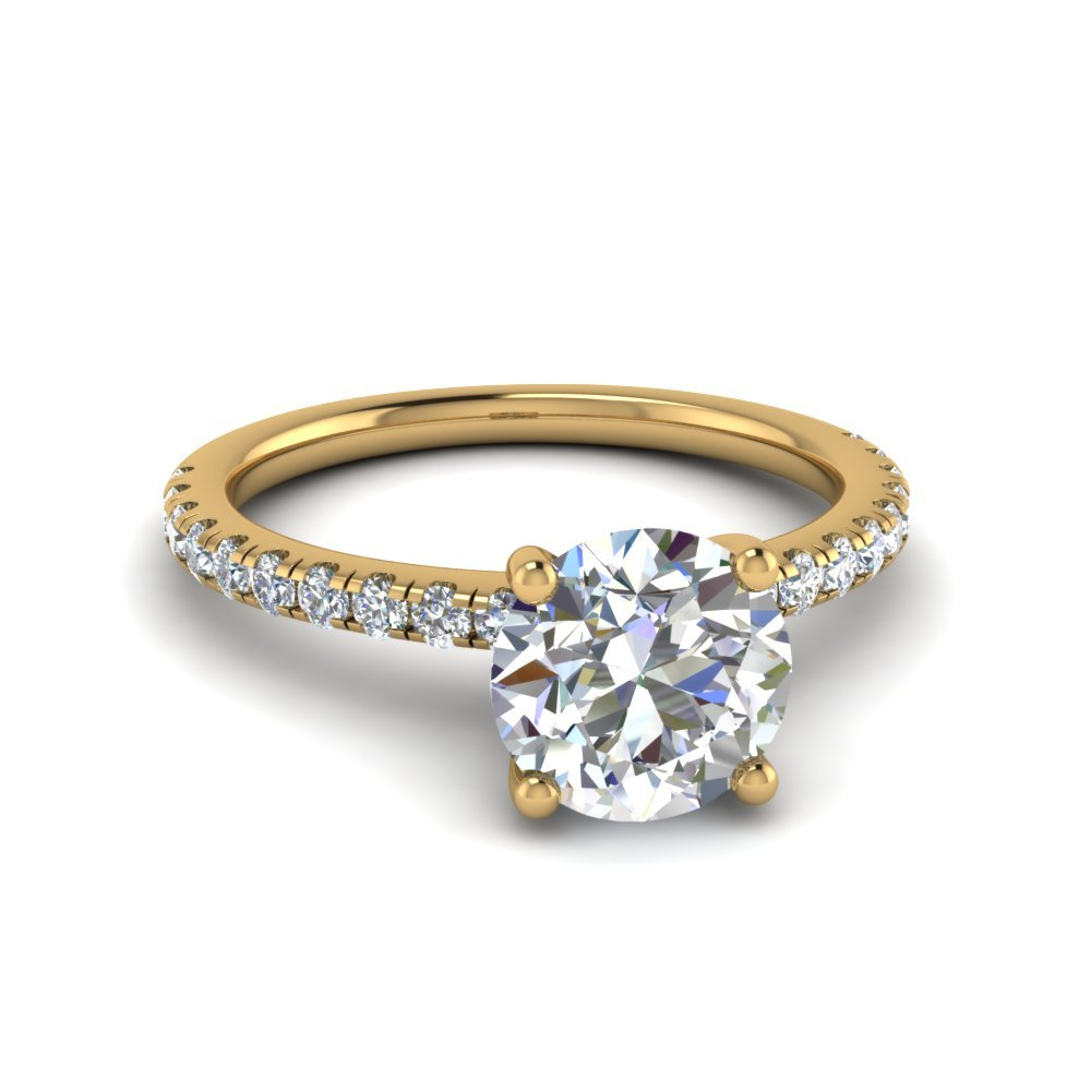 Round Cut U Prong Diamond Ring In 18K Yellow Gold