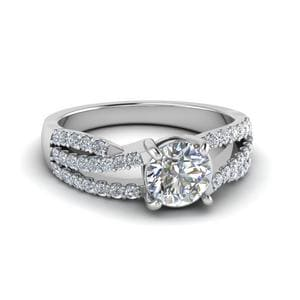 Round Cut U Prong Split Shank Trio Band Diamond Engagement Ring In 14K White Gold