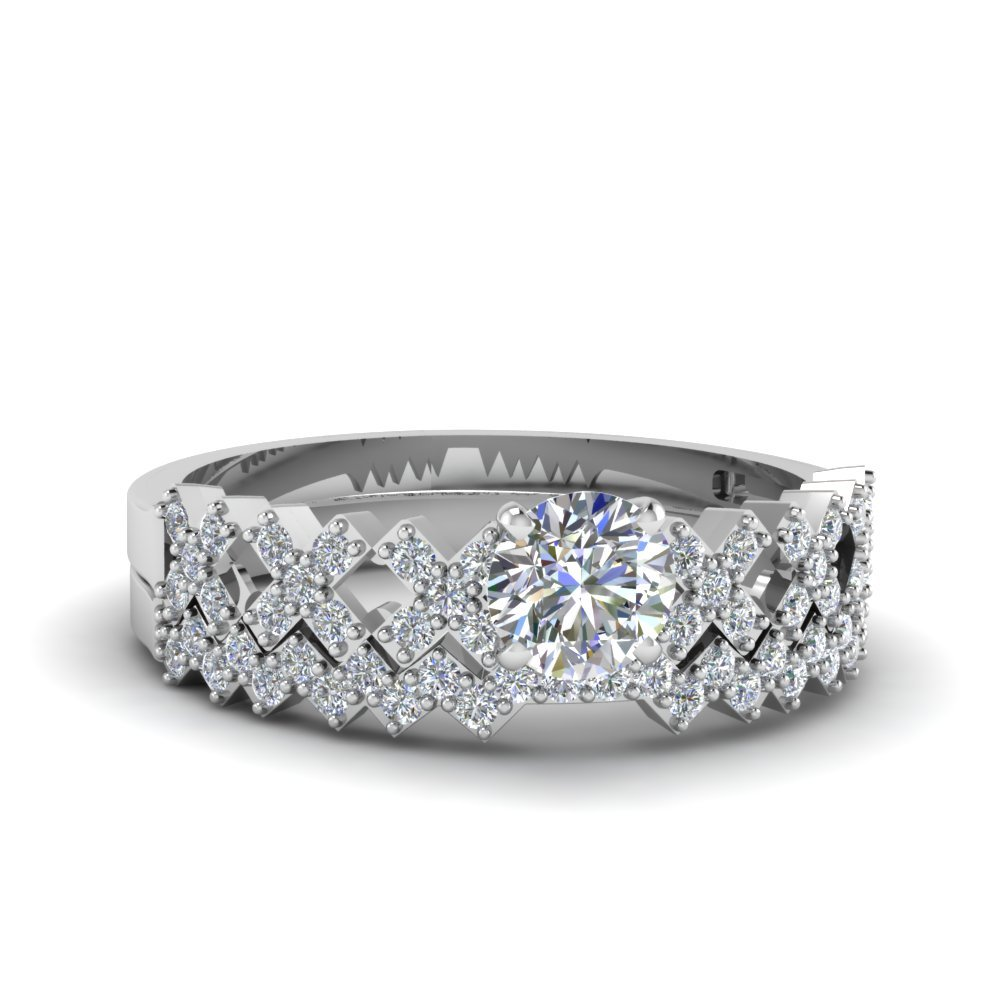 Platinum Round Diamond Bridal Set