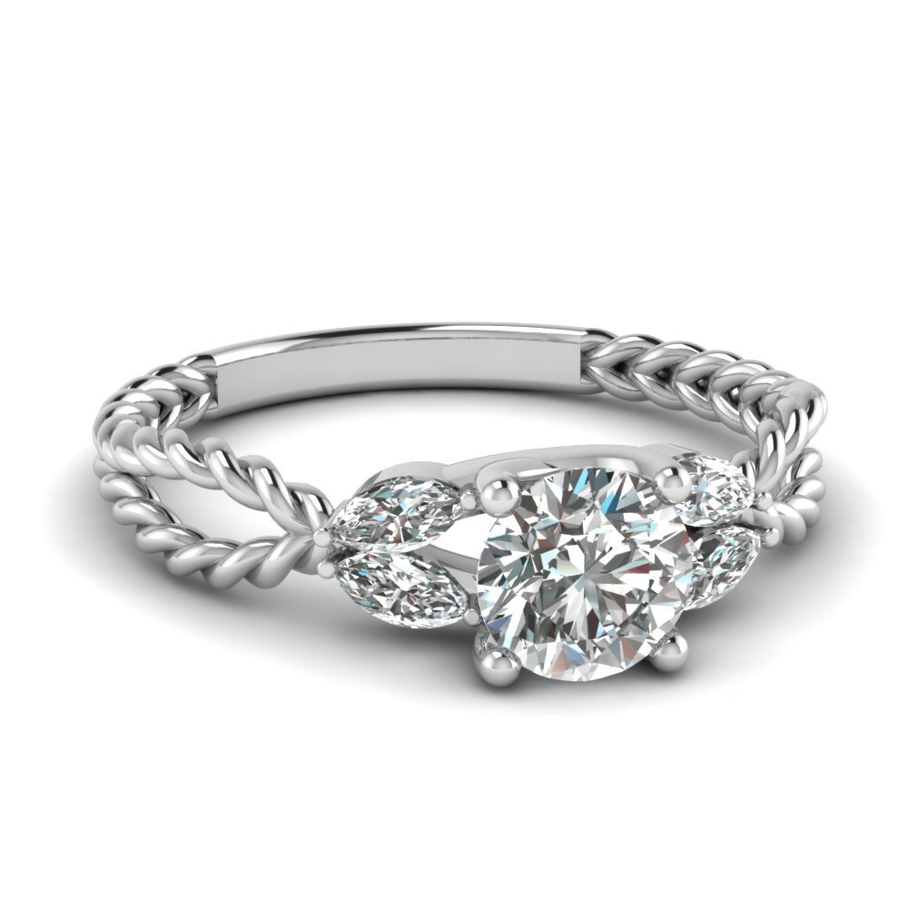 Infinity Twisted Leaf Diamond Ring
