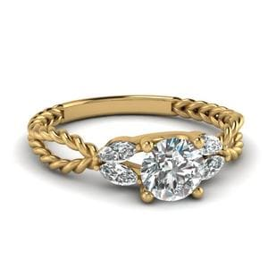 Twisted Leaf Diamond Engagement Ring In 18K Yellow Gold