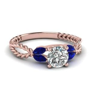 Twisted Leaf Diamond Engagement Ring With Sapphire In 14K Rose Gold