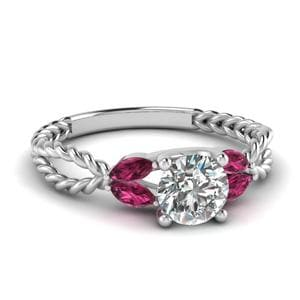 Twisted Leaf Diamond Engagement Ring With Pink Sapphire In 14K White Gold