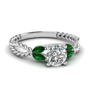 Twisted Leaf Diamond Engagement Ring With Emerald In 18K White Gold