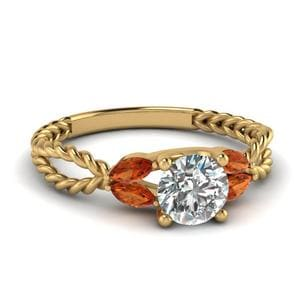 Twisted Leaf Diamond Engagement Ring With Orange Sapphire In 14K Yellow Gold