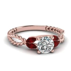 Twisted Leaf Diamond Engagement Ring With Ruby In 18K Rose Gold