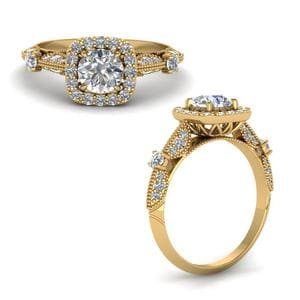 Round Cut Vintage Halo Diamond Ring In 14K Yellow Gold