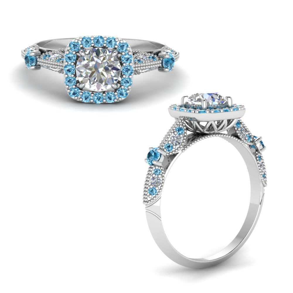 Round Cut Vintage Halo Diamond Ring With Blue Topaz In 14K White Gold
