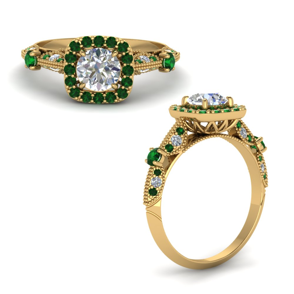 Round Cut Vintage Halo Diamond Ring With Emerald In 18K Yellow Gold
