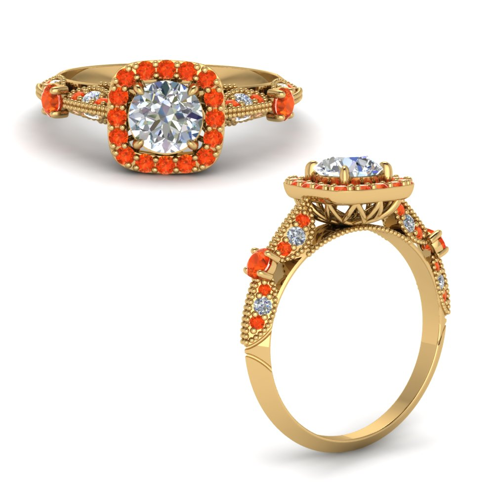 Round Cut Vintage Halo Diamond Ring With Orange Topaz In 14K Yellow Gold