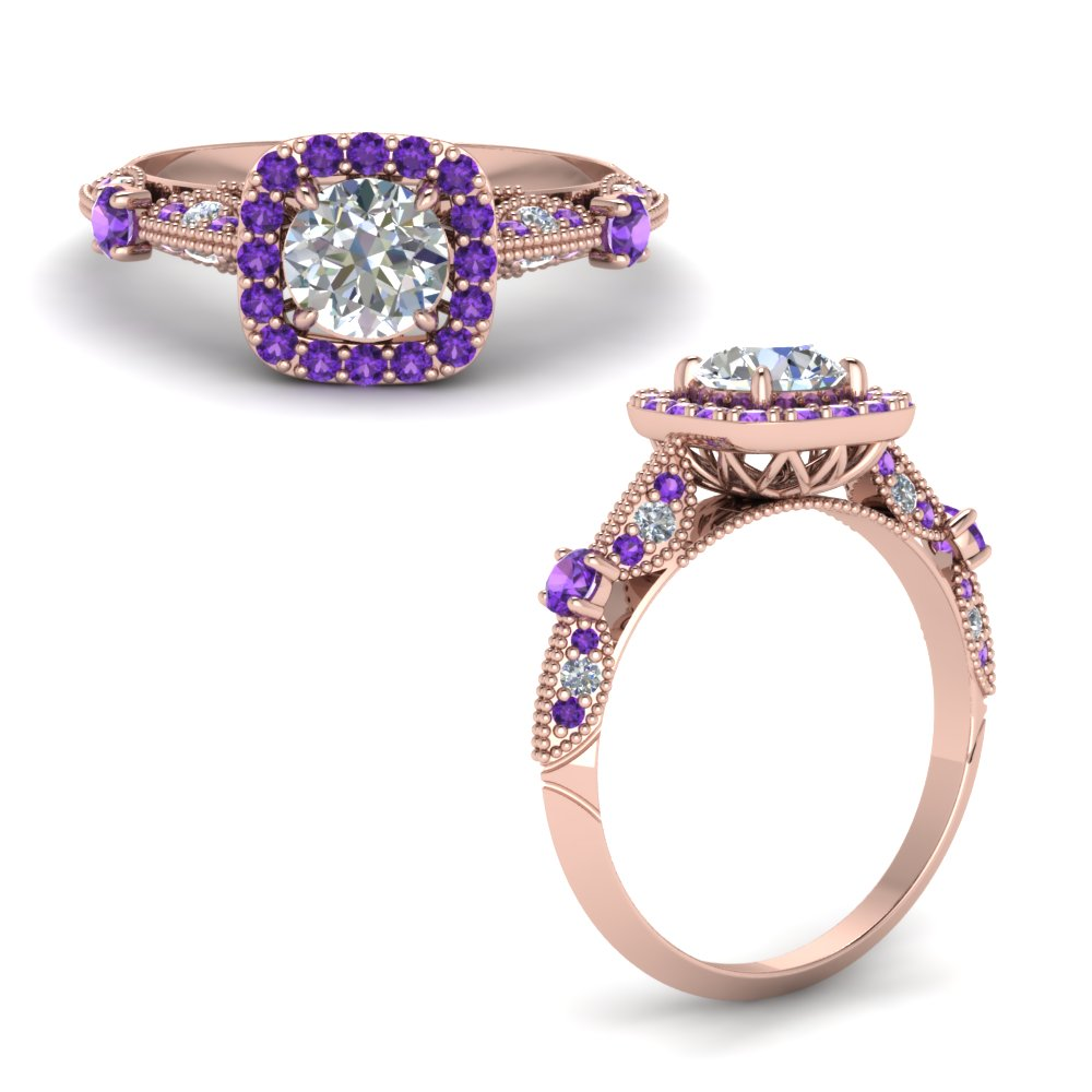 Round Cut Vintage Halo Diamond Ring With Purple Topaz In 14K Rose Gold