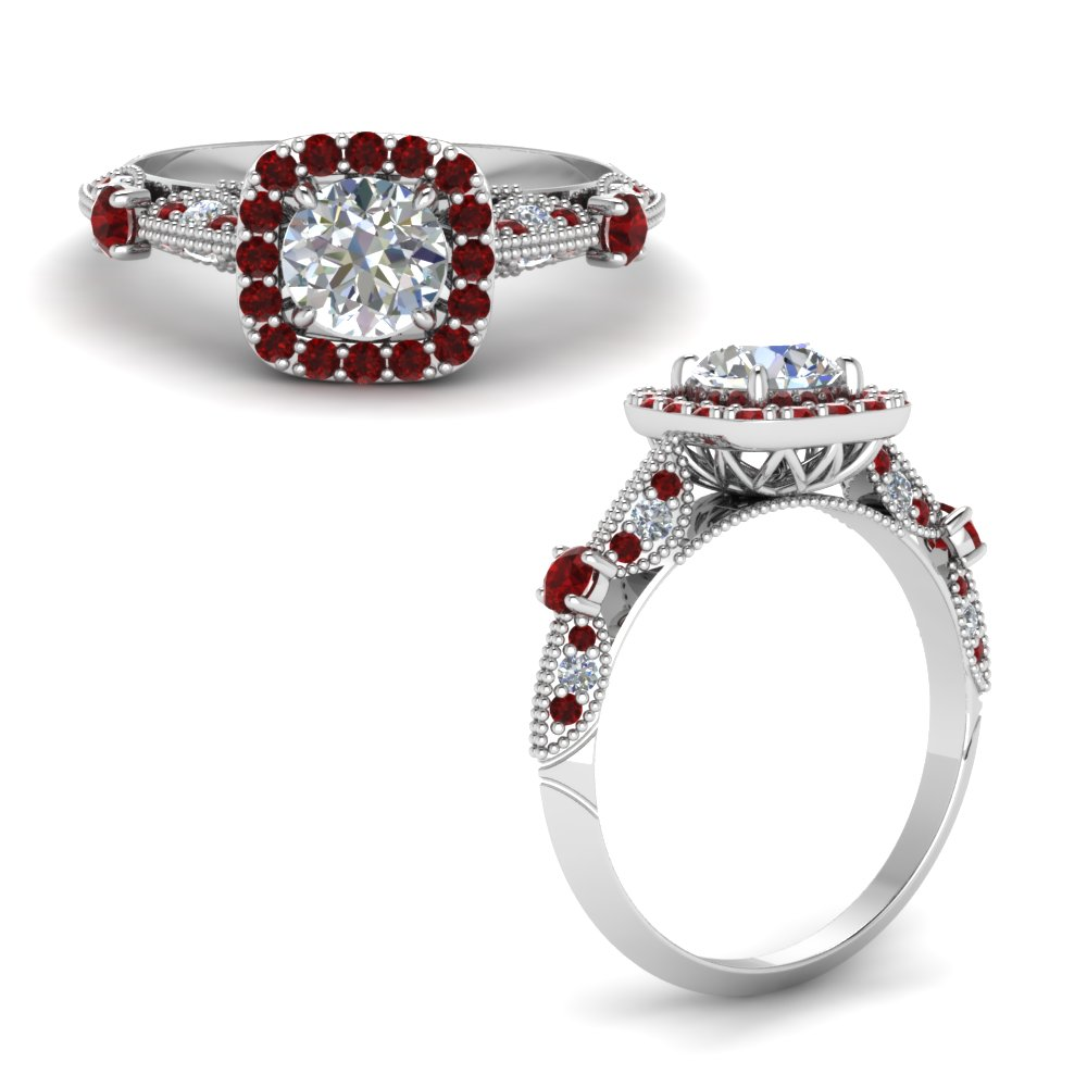 Round Cut Vintage Halo Diamond Ring With Ruby In 18K White Gold