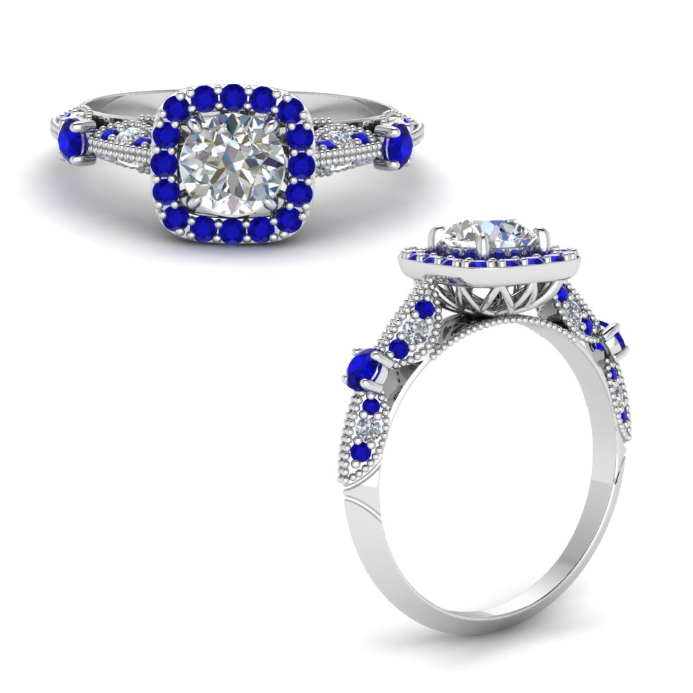 Round Cut Vintage Halo Diamond Ring With Sapphire In 14K White Gold