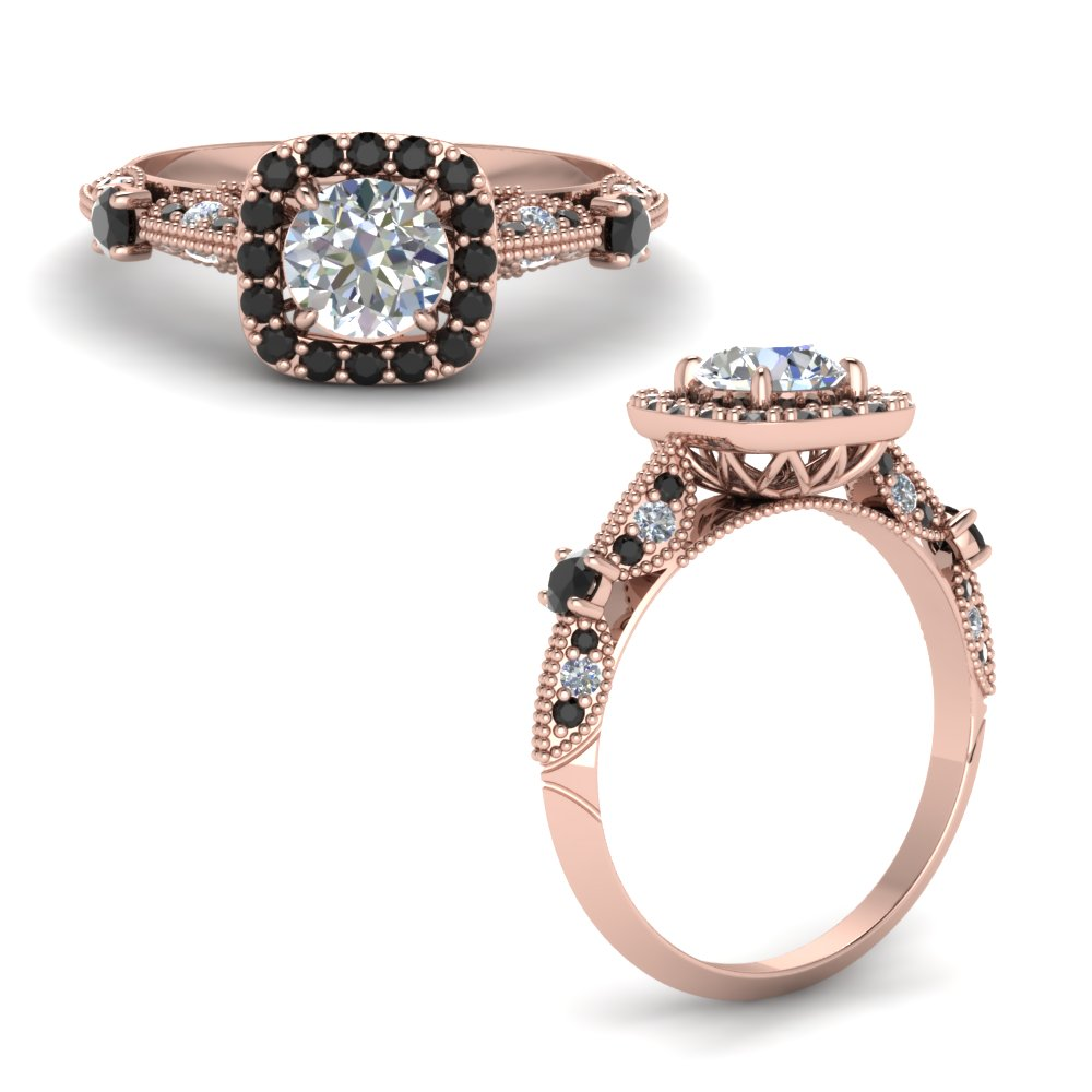 Round Cut Vintage Halo Ring With Black Diamond In 18K Rose Gold