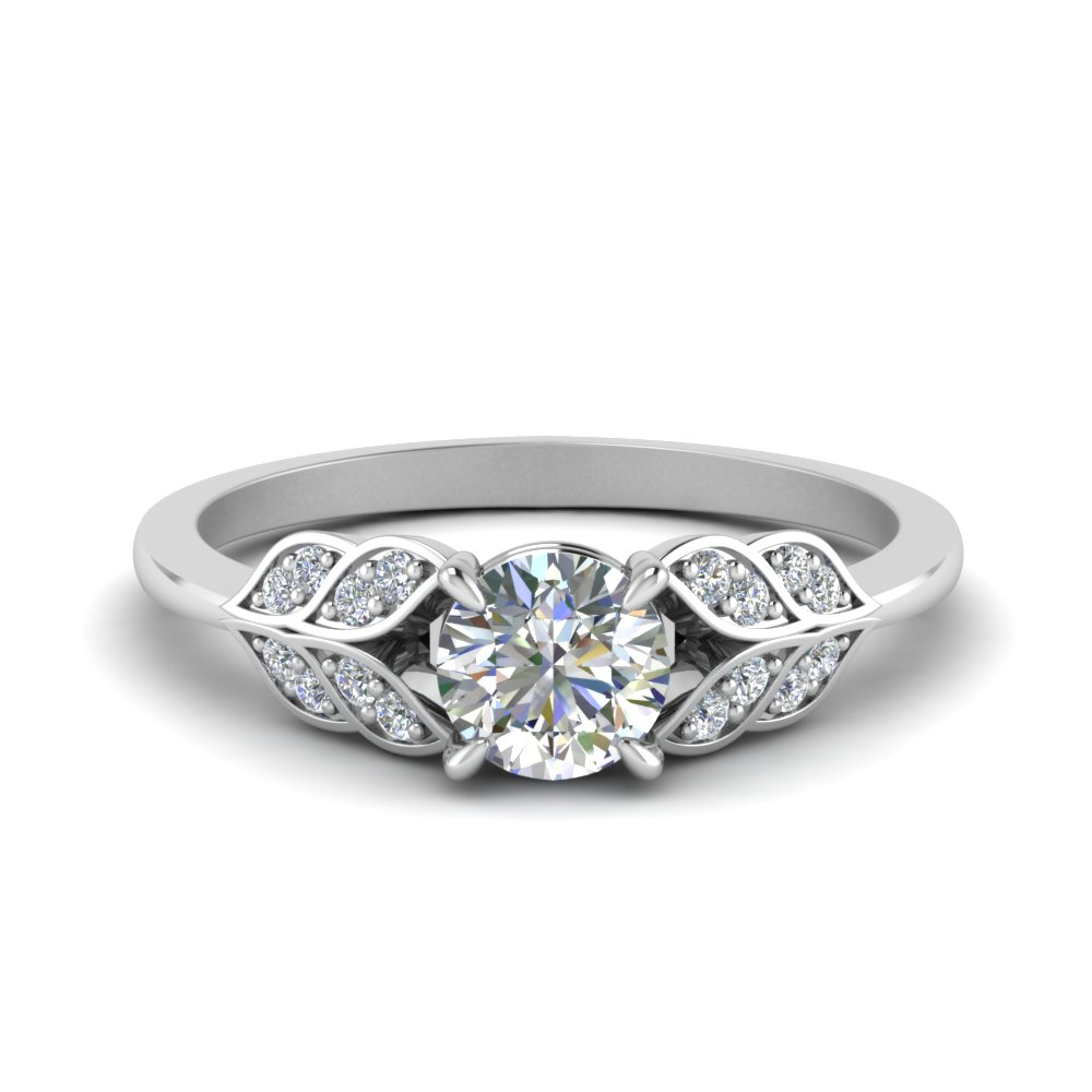 Round Cut Vintage Leaf Diamond Engagement Ring In 14K White Gold