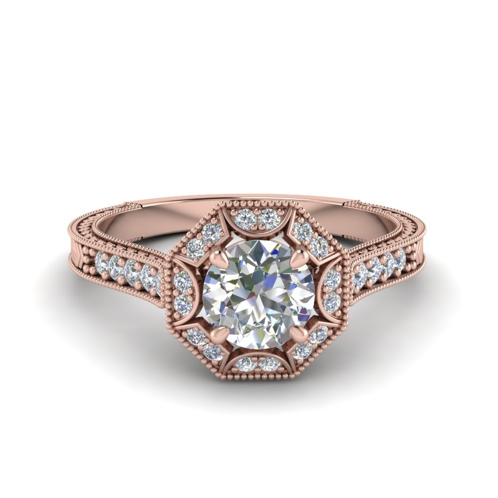 Round Cut Vintage Pave Halo Diamond Ring In 14K Rose Gold