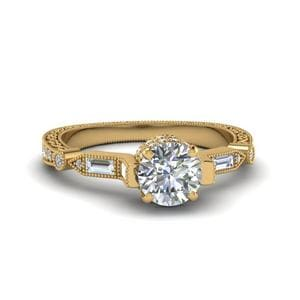 Round Cut Vintage Style Filigree Diamond Engagement Ring In 14K Yellow Gold