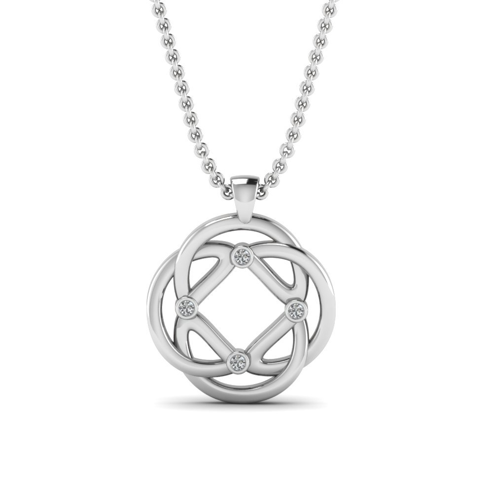 Intricate Design Diamond Pendant In 14K White Gold