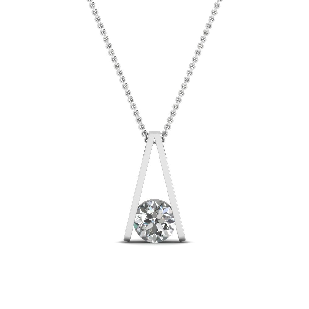 Round Cut White Diamond Solitaire Pendant In 14K White Gold