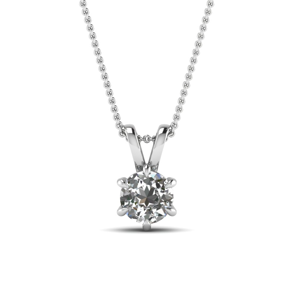 Royal Round 6 Prong Pendant