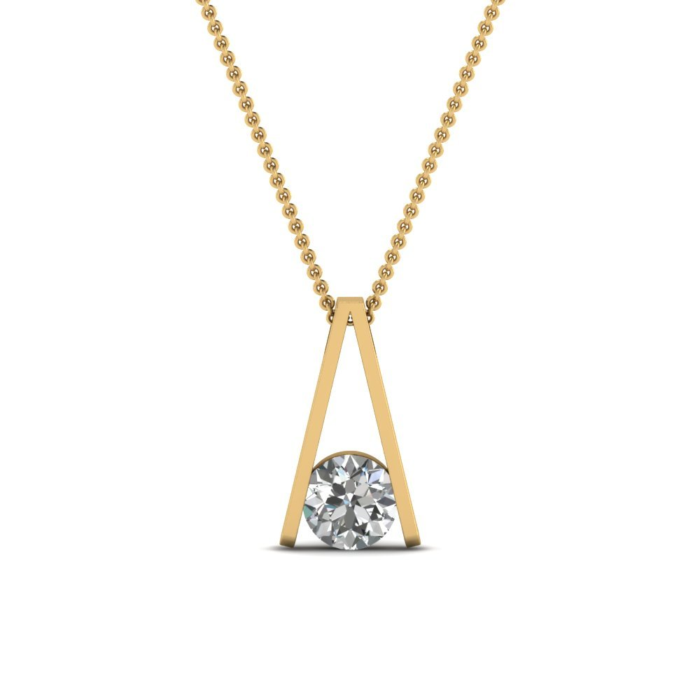 Round Cut White Diamond Solitaire Pendant In 14K Yellow Gold