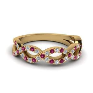 Twisted Pink Sapphire Wedding Band