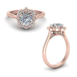 Round Delicate Flower Diamond Engagement Ring In 14K Rose Gold