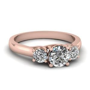 Round Diamond 3 Stone Engagement Ring In 14K Rose Gold