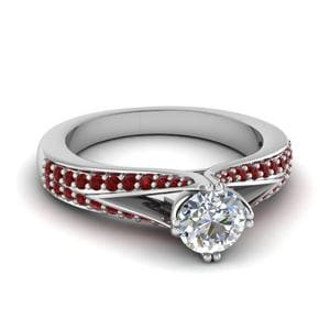 Round Diamond And Ruby Ring