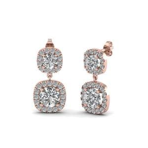 Round Diamond Halo Drop Earring For Women In 14K Rose Gold