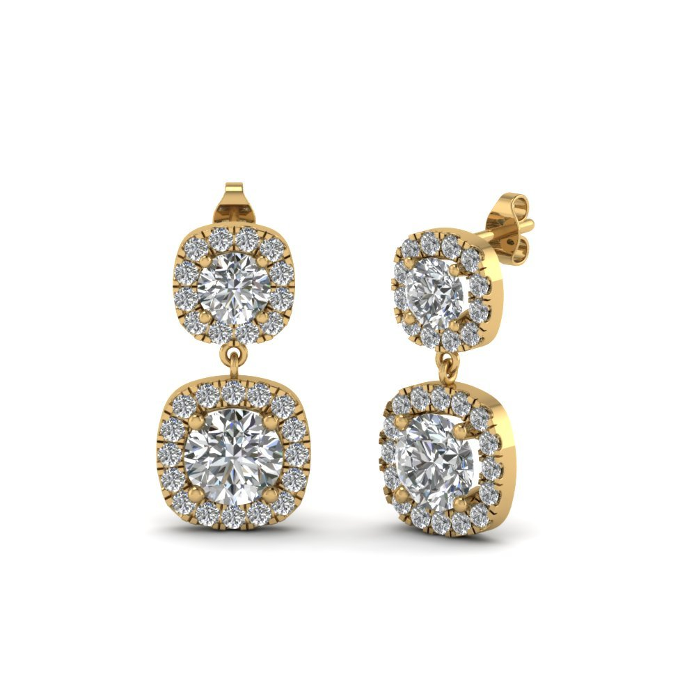 Round Diamond Halo Drop Earring