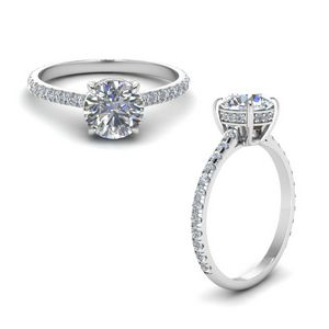 Round Diamond Petite Ring In 14K White Gold