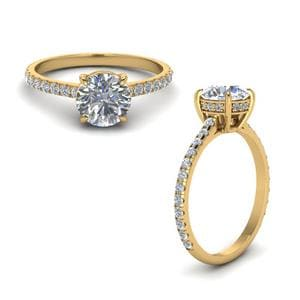 Round Diamond Petite Ring In 18K Yellow Gold