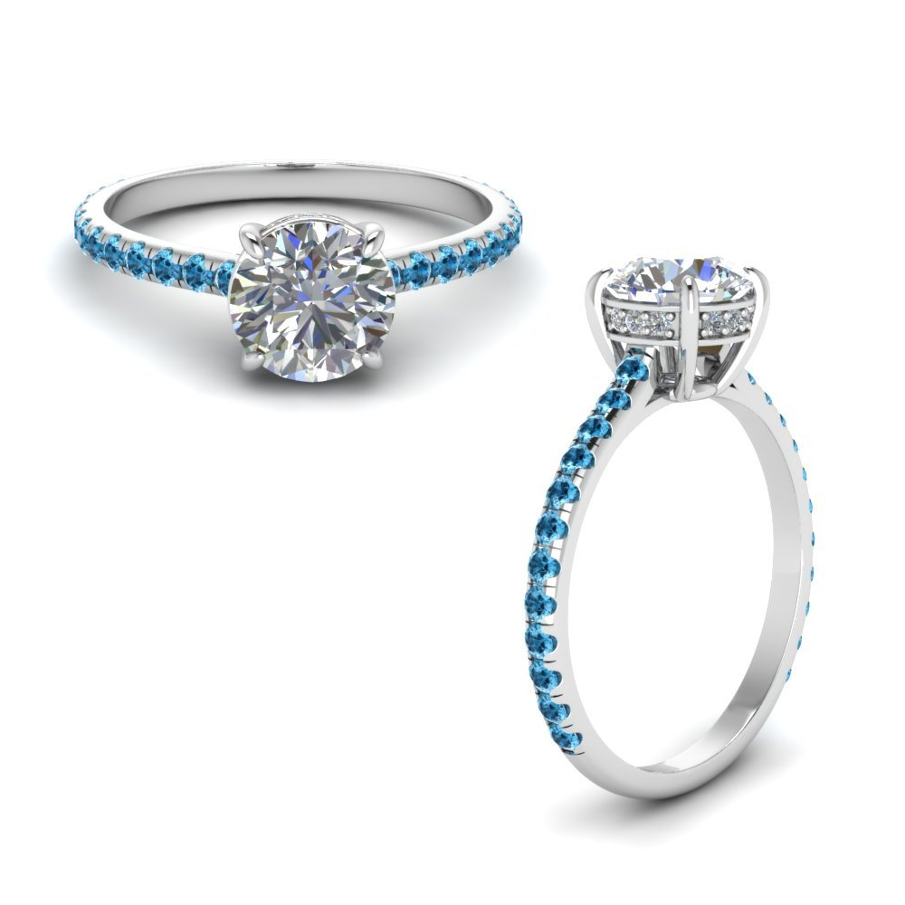 Round Diamond Petite Ring With Blue Topaz In 950 Platinum