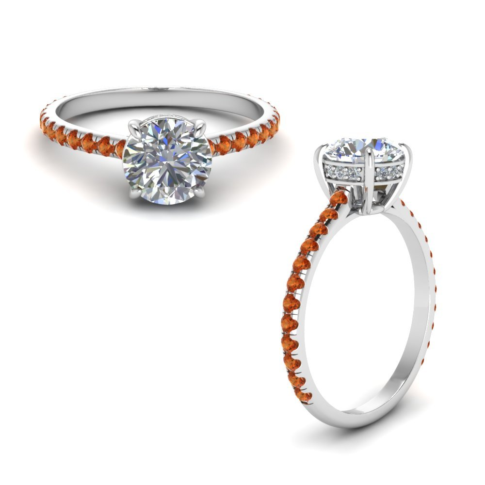 Round Diamond Petite Ring With Orange Sapphire In 14K White Gold