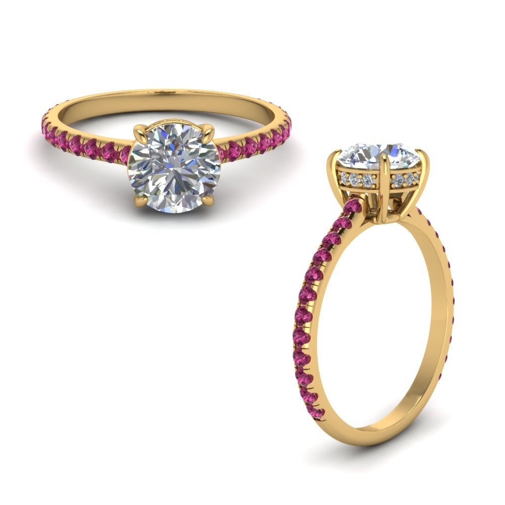 Round Diamond Petite Ring With Pink Sapphire In 14K Yellow Gold