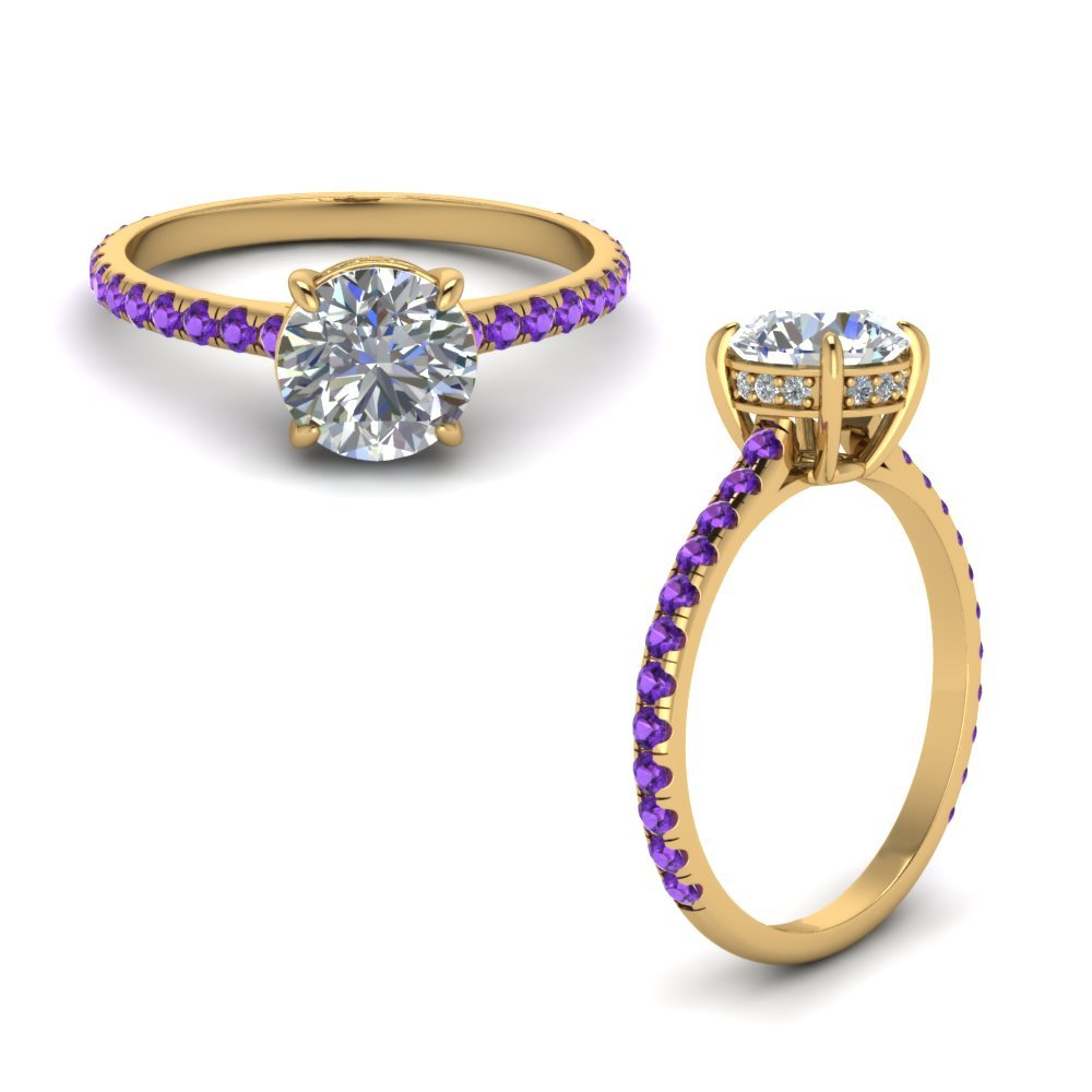 Round Diamond Petite Ring With Purple Topaz In 14K Yellow Gold