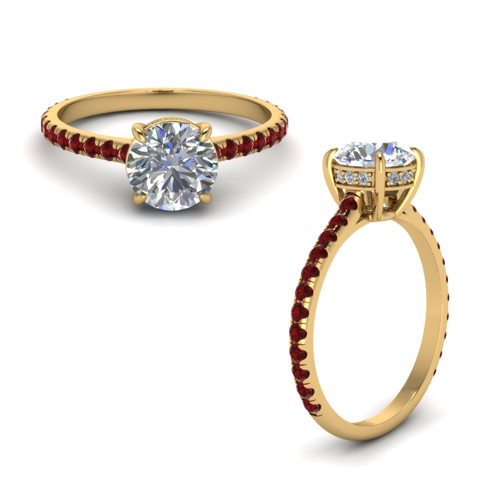 Round Diamond Petite Ring With Ruby In 18K Yellow Gold