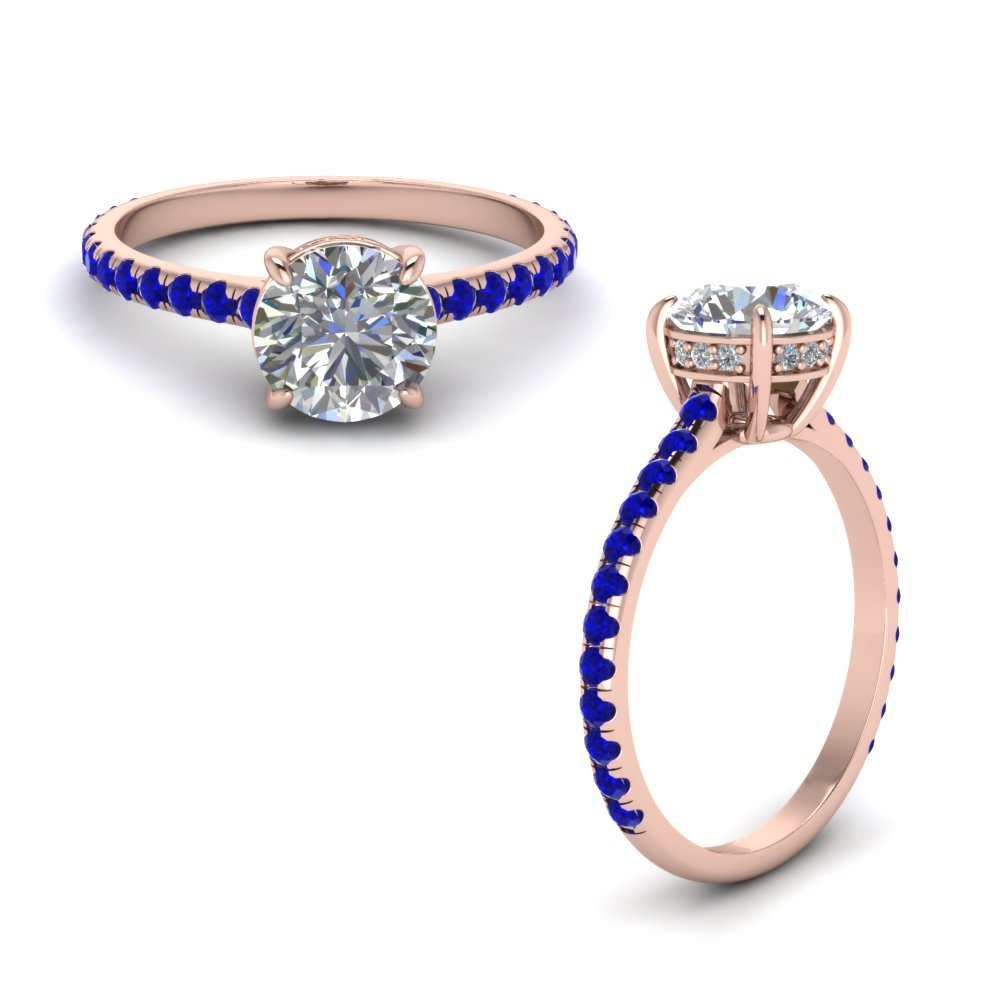Round Diamond Petite Ring With Sapphire In 14K Rose Gold