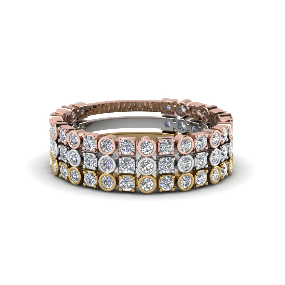 Round Diamond Stackable Rings