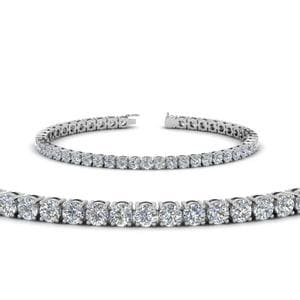 Round Diamond Tennis Bracelet (7 Carat) In 14K White Gold