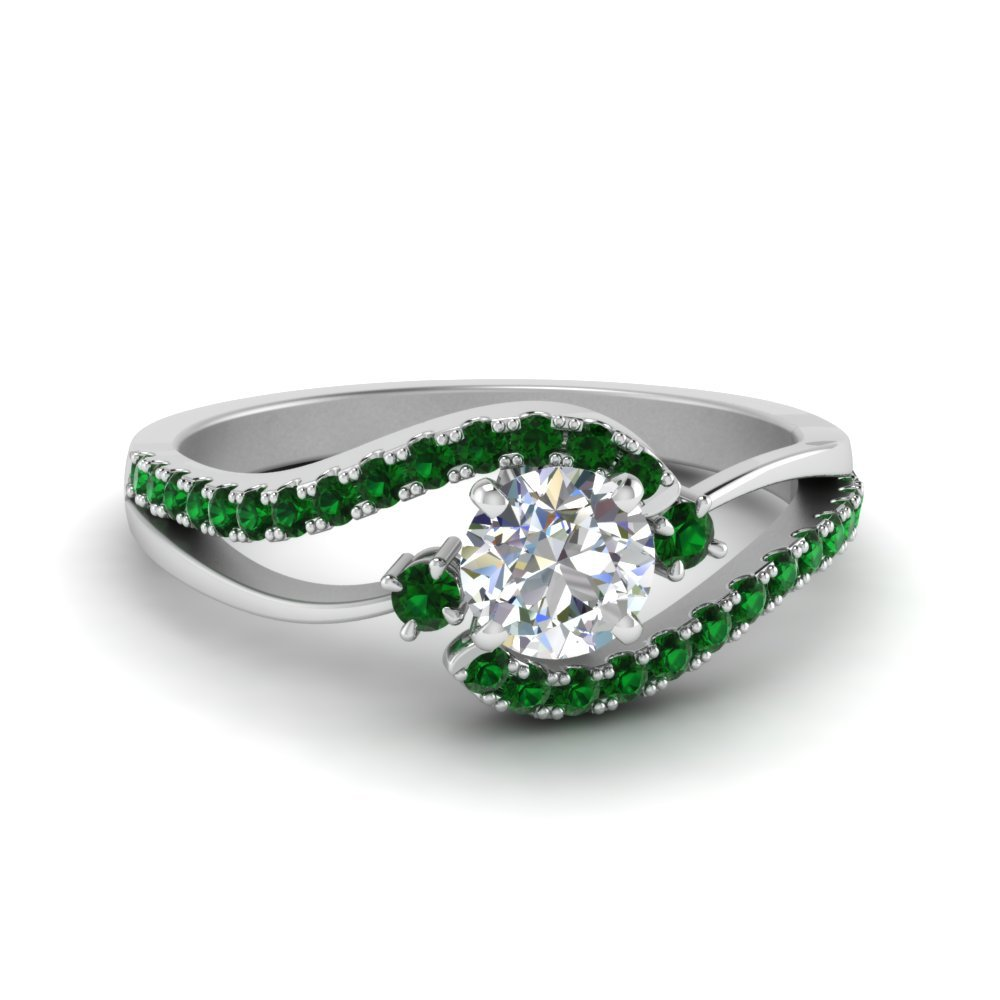 Twisted Emerald Wedding Ring
