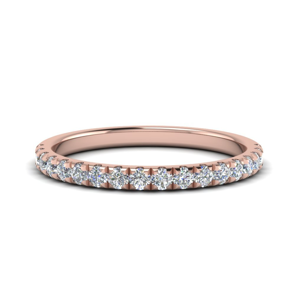 Round Diamond U Prong Wedding Band In 14K Rose Gold