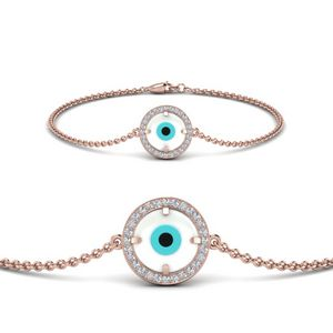 Round Evil Eye Bracelet With Diamond