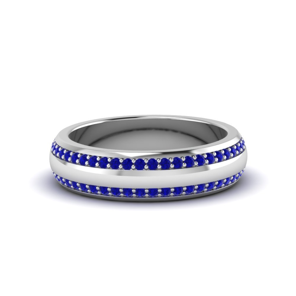 round sapphire pave comfort fit band